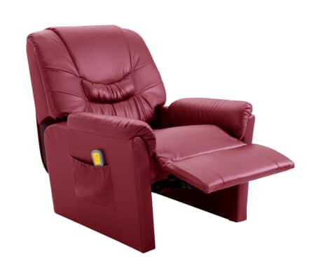 vidaXL Električni masažni stol vinsko rdeče umetno usnje[5/11]