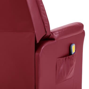 vidaXL Električni masažni stol vinsko rdeče umetno usnje[8/11]