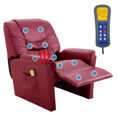 vidaXL Električni masažni stol vinsko rdeče umetno usnje[9/11]