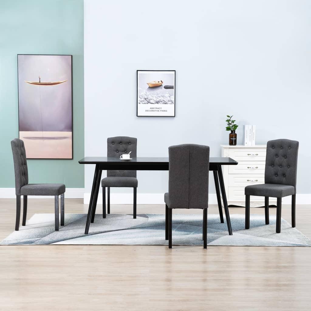 vidaXL Krzesła do jadalni, 4 szt., ciemnoszare, tapicerowane tkaniną