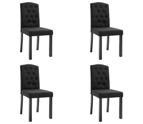 vidaXL Sillas de comedor 4 unidades de tela negra