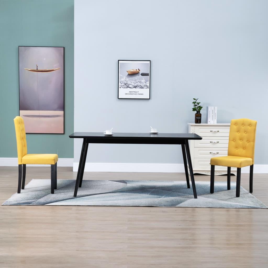 vidaXL Esszimmerstühle 2 Stück Gelb Stoff