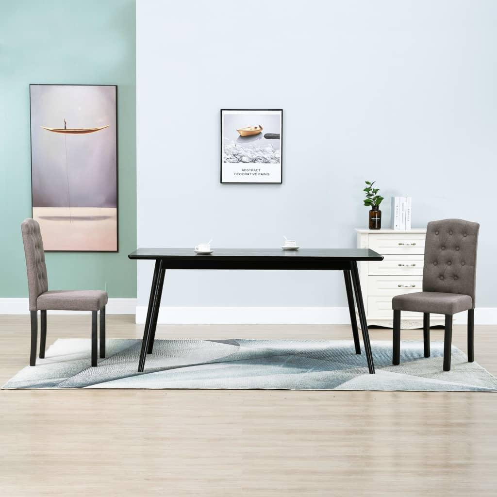 vidaXL Krzesła do jadalni, 2 szt., taupe, tapicerowane tkaniną