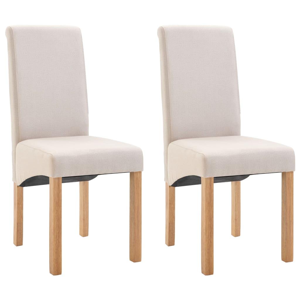 vidaXL Καρέκλες Τραπεζαρίας 2 τεμ. Κρεμ Υφασμάτινες