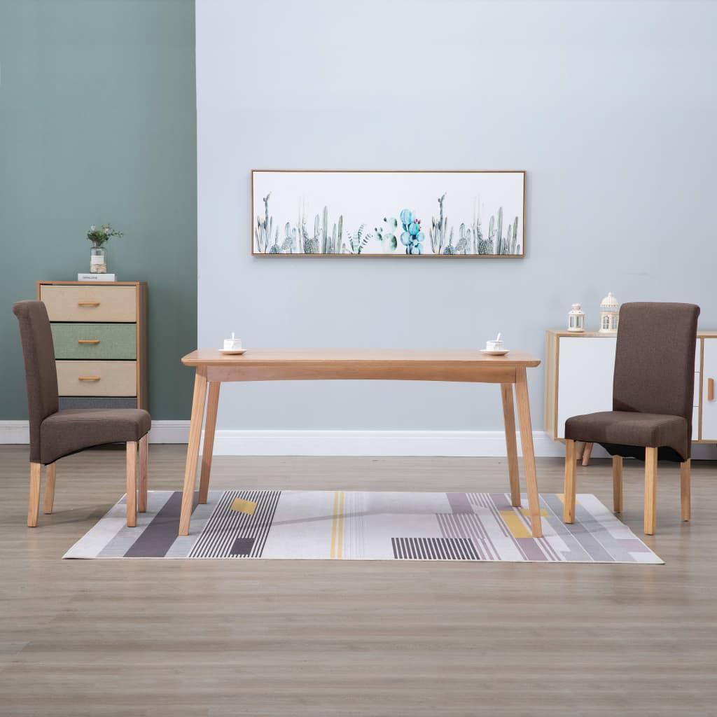 vidaXL Scaune de sufragerie, 2 buc., maro, material textil poza vidaxl.ro