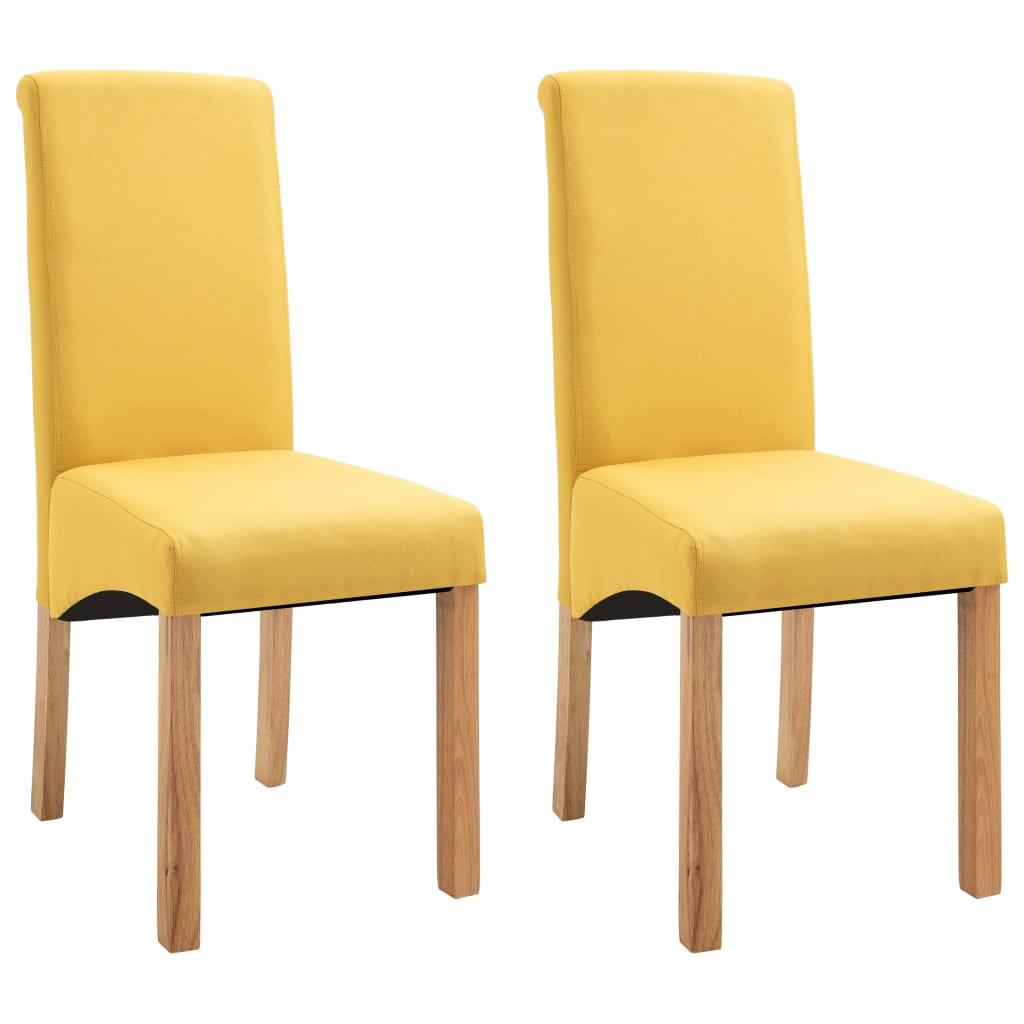 vidaXL Καρέκλες Τραπεζαρίας 2 τεμ. Κίτρινες Υφασμάτινες