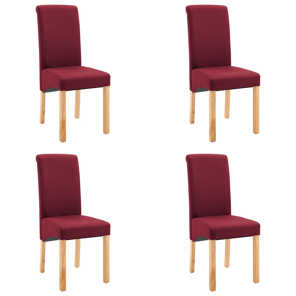 vidaXL Καρέκλες Τραπεζαρίας 4 τεμ. Κόκκινες Υφασμάτινες