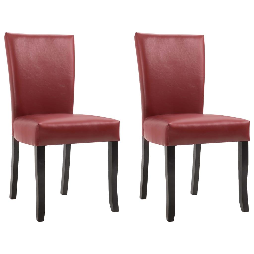 vidaXL Καρέκλες Τραπεζαρίας 2 τεμ. Μπορντό από Συνθετικό Δέρμα