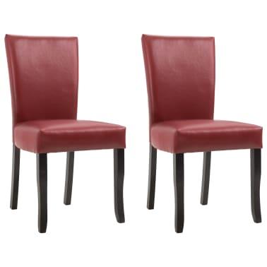 vidaXL 2 pcs Chaises de salle à manger Rouge bordeaux