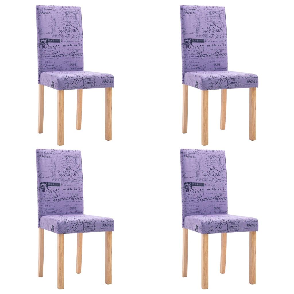 vidaXL Καρέκλες Τραπεζαρίας 4 τεμ. Μοβ από Πολυεστέρα