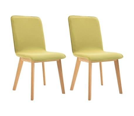 vidaXL Jídelní židle 2 ks zelené textil a masivní dubové dřevo