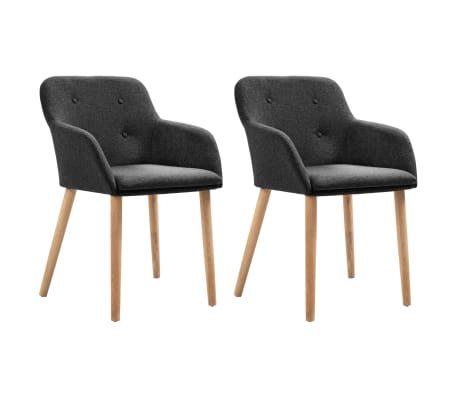 vidaXL Dining Chairs 2 pcs Dark Grey Fabric and Solid Oak Wood