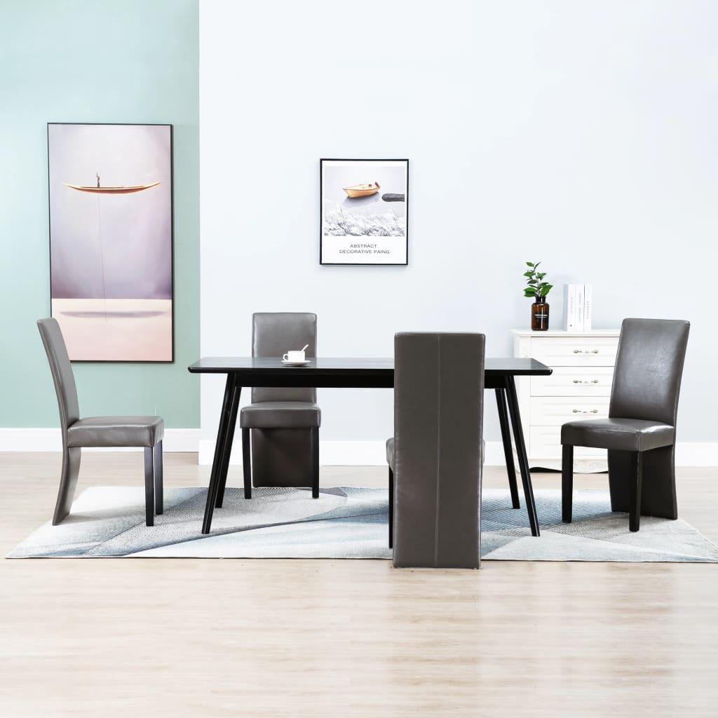 vidaXL Scaune de sufragerie, 4 buc., gri, piele ecologică imagine vidaxl.ro