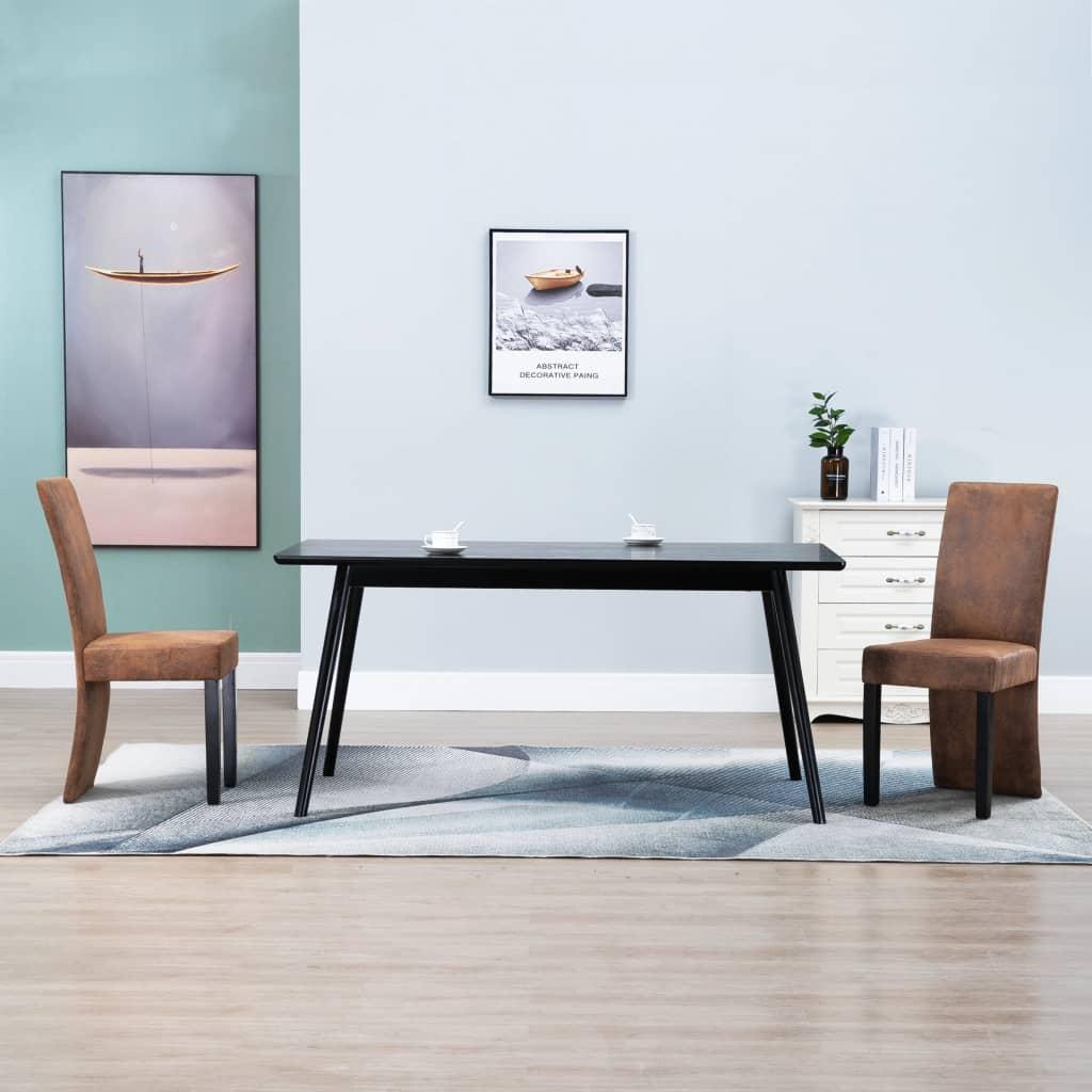 vidaXL Scaune de sufragerie, 2 buc., maro, piele întoarsă ecologică poza 2021 vidaXL