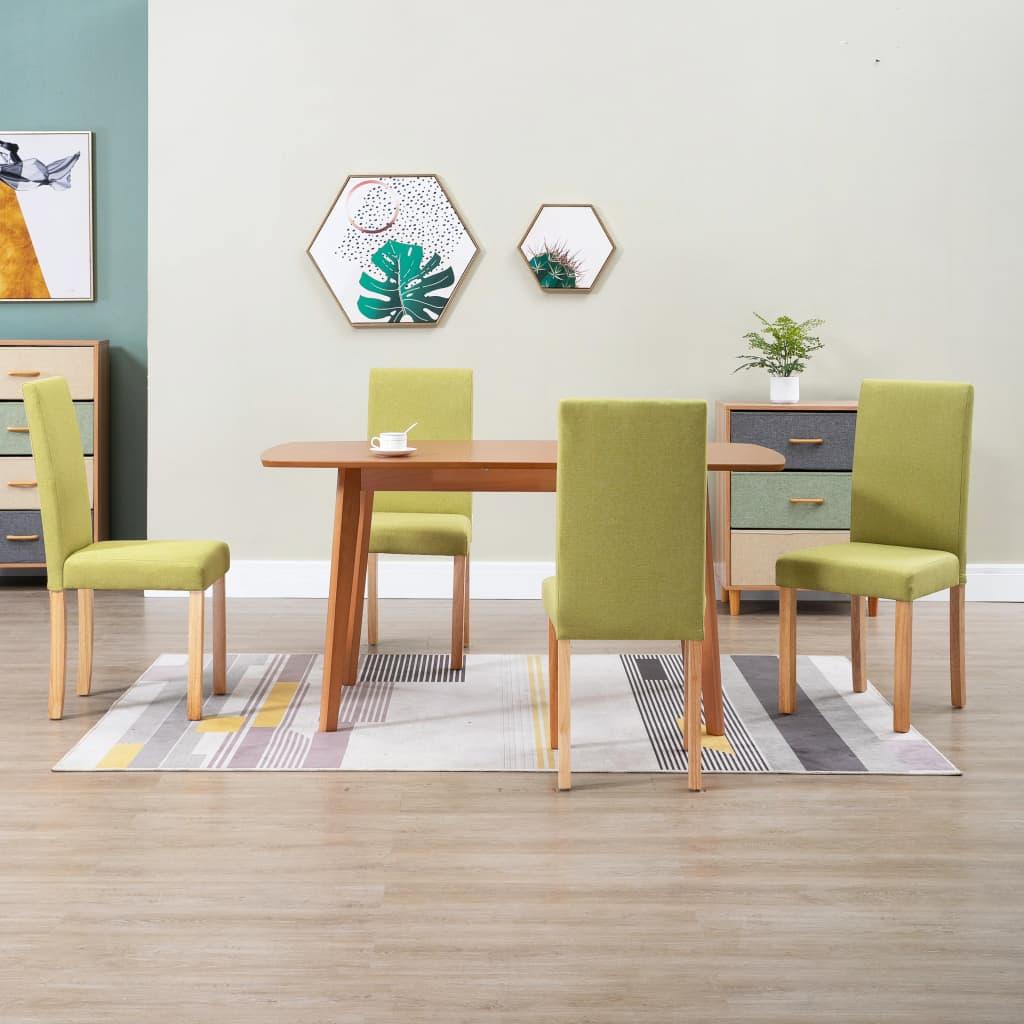 vidaXL Scaune de bucătărie, 4 buc., verde, material textil imagine vidaxl.ro