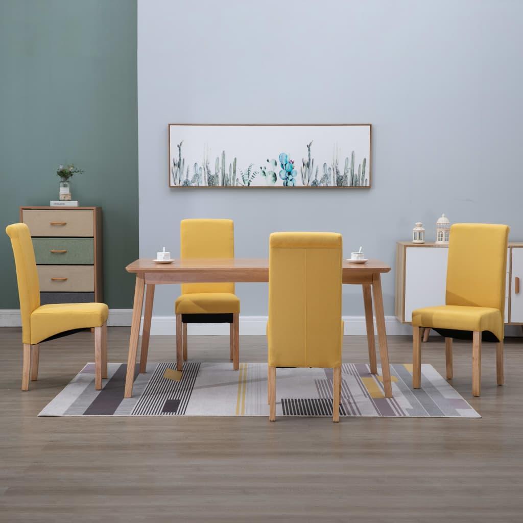 vidaXL Scaune de bucătărie, 4 buc., galben, material textil imagine vidaxl.ro