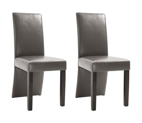 vidaXL Dining Chairs 2 pcs Gray Faux Leather[2/9]