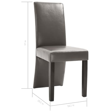 vidaXL Dining Chairs 2 pcs Gray Faux Leather[9/9]