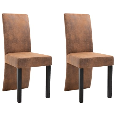 vidaXL Dining Chairs 2 pcs Brown Faux Suede Leather[2/9]