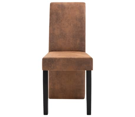 vidaXL Dining Chairs 2 pcs Brown Faux Suede Leather[4/9]