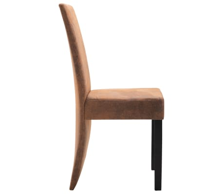 vidaXL Dining Chairs 2 pcs Brown Faux Suede Leather[5/9]
