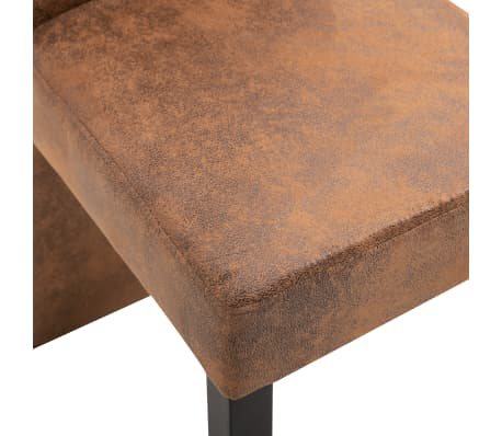 vidaXL Dining Chairs 2 pcs Brown Faux Suede Leather[7/9]