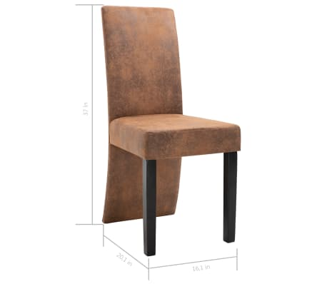 vidaXL Dining Chairs 2 pcs Brown Faux Suede Leather[9/9]
