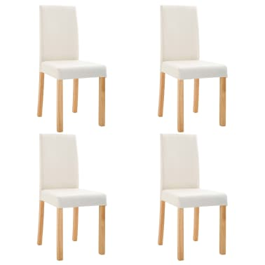 vidaXL Dining Chairs 4 pcs Cream Faux Leather[2/9]