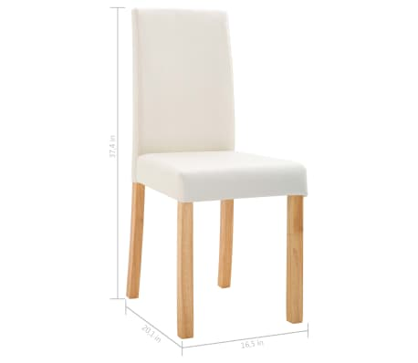 vidaXL Dining Chairs 4 pcs Cream Faux Leather[9/9]