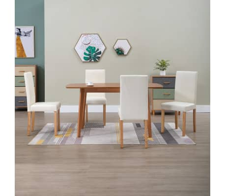 vidaXL Dining Chairs 4 pcs Cream Faux Leather[1/9]