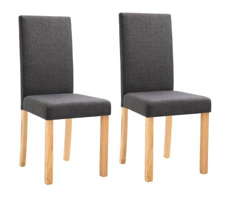 vidaXL Dining Chairs 2 pcs Dark Gray Fabric[2/9]