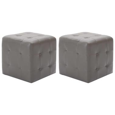 """vidaXL Pouffe 2 pcs Gray 11.8""""x11.8""""x11.8"""" Faux Leather[1/5]"""