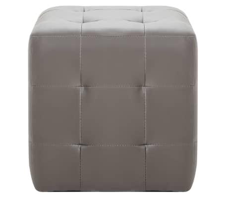 """vidaXL Pouffe 2 pcs Gray 11.8""""x11.8""""x11.8"""" Faux Leather[3/5]"""