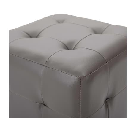"""vidaXL Pouffe 2 pcs Gray 11.8""""x11.8""""x11.8"""" Faux Leather[4/5]"""