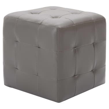 """vidaXL Pouffe 2 pcs Gray 11.8""""x11.8""""x11.8"""" Faux Leather[2/5]"""