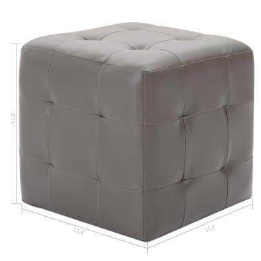 """vidaXL Pouffe 2 pcs Gray 11.8""""x11.8""""x11.8"""" Faux Leather[5/5]"""