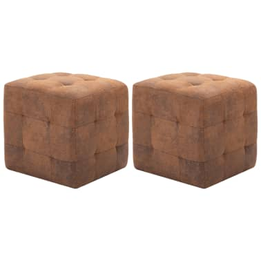 "vidaXL Pouffe 2 pcs Brown 11.8""x11.8""x11.8"" Faux Suede Leather[1/6]"