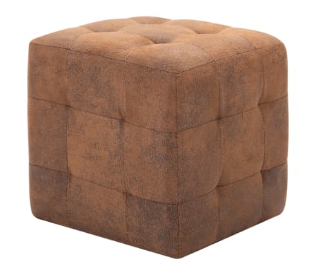 "vidaXL Pouffe 2 pcs Brown 11.8""x11.8""x11.8"" Faux Suede Leather[2/6]"