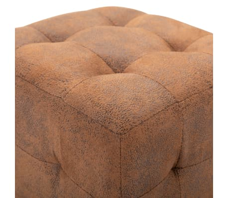 "vidaXL Pouffe 2 pcs Brown 11.8""x11.8""x11.8"" Faux Suede Leather[4/6]"
