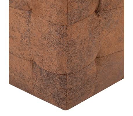 "vidaXL Pouffe 2 pcs Brown 11.8""x11.8""x11.8"" Faux Suede Leather[5/6]"