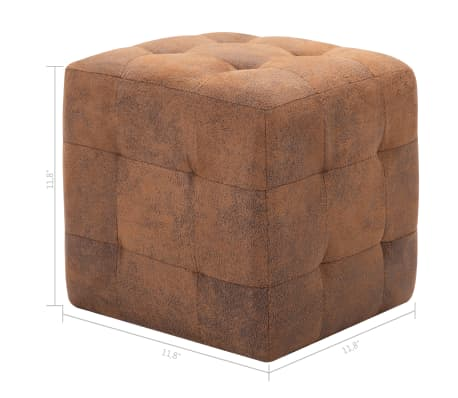 "vidaXL Pouffe 2 pcs Brown 11.8""x11.8""x11.8"" Faux Suede Leather[6/6]"