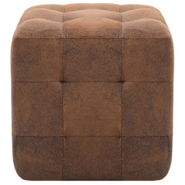 "vidaXL Pouffe 2 pcs Brown 11.8""x11.8""x11.8"" Faux Suede Leather[3/6]"