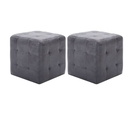 "vidaXL Pouffe 2 pcs Gray 11.8""x11.8""x11.8"" Faux Suede Leather"