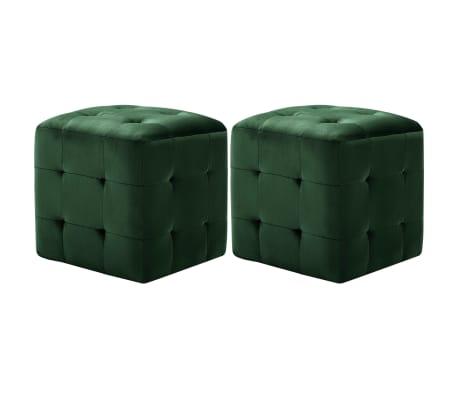 """vidaXL Pouffe 2 pcs Green 11.8""""x11.8""""x11.8"""" Velvet[1/6]"""