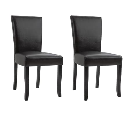 vidaXL Dining Chairs 2 pcs Brown Faux Leather[1/8]