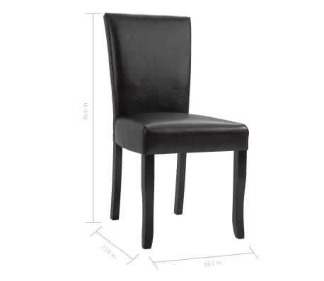 vidaXL Dining Chairs 2 pcs Brown Faux Leather[8/8]