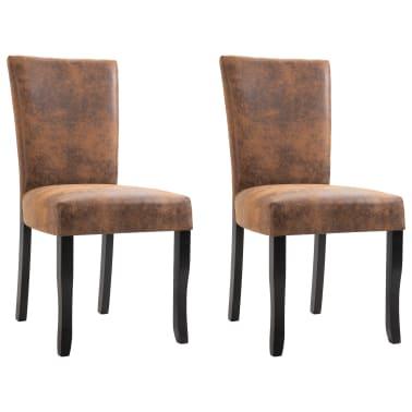 Enjoyable Vidaxl Dining Chairs 2 Pcs Brown Faux Suede Leather Vidaxl Com Creativecarmelina Interior Chair Design Creativecarmelinacom