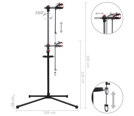 vidaXL Reparationsstativ för cykel 104x68x(110-190) cm stål svart[10/10]