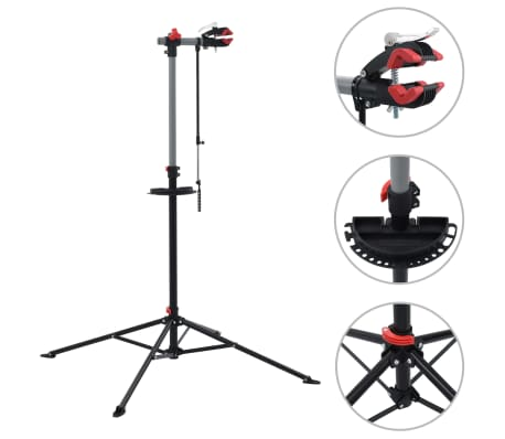 vidaXL Bike Repair Stand 103x103x(115-200) cm Steel Black