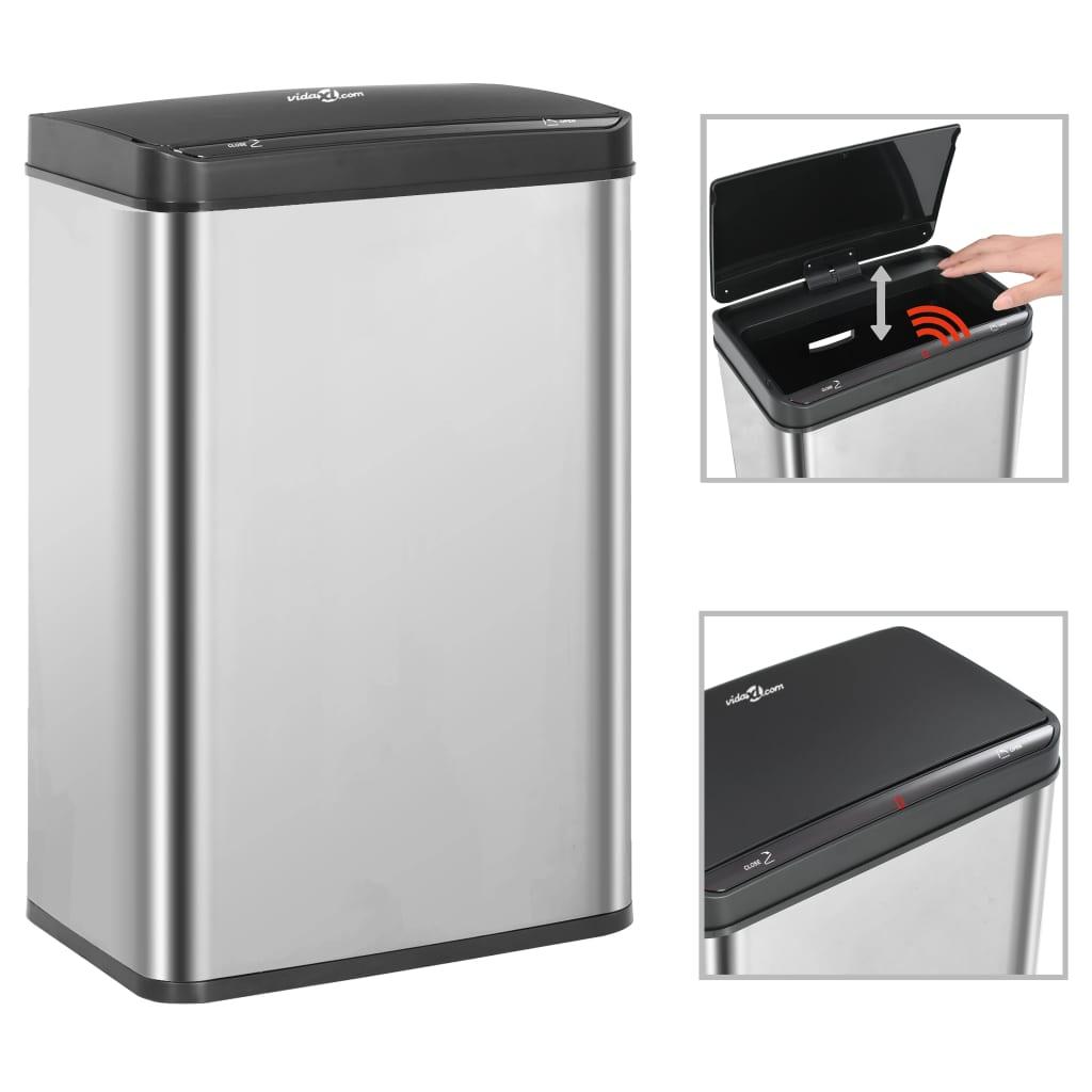 Odpadkový koš s automatickým senzorem stříbrný černý nerez 60 l
